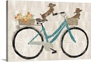Doxie Ride Canvas Wall Art Print Bicycling Home Decor