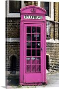 Painted Pink Phone Booth In London Canvas Wall Art Print London Home Decor