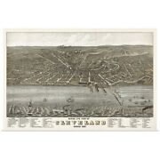 Vintage Birds Eye View Map Of Cleveland, Poster Art Print, Cleveland Home Decor