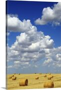 Hay Bales With White Clouds Canvas Wall Art Print Countryside Home Decor