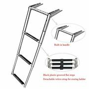 Marine Boat 3 Step Ladder Telescoping Swim Ladder Stainless With Built In Handle