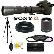 Telephoto Zoom Lens 500mm -1000mm + Accessories + Tripod For Sony Alpha Dslr