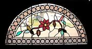 Great Antique American Stained Glass Windows Flowers 44 X 25 Salvage