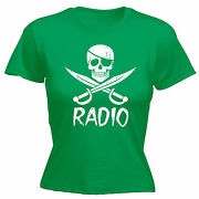 Pirate Radio Womens T-shirt Illegal Station Party Raver Funny Gift Birthday