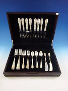 Rose By Stieff Sterling Silver Flatware Service For 8 Set 40 Pieces Repousse