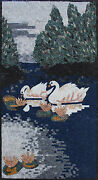 Marvelous White Swans Next To Flowers Lake Scene Marble Mosaic An293