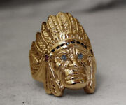 Cavalli Del Mar Large Solid 14k Gold Diamonds Indian Head Chief Mens Ring 24.6gr