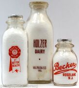 Vintage Dairy Bottle Lot Of 3 Acl Bottles 3 Sizes Becker Better Milk.. And Holzer