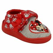 Girls Disney Hook And Loop Bow Heart Minnie Mouse Indoor House Slippers Strand
