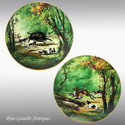 1876-1886 Pair Of 15.75 Large Limoges Haviland France Hand-painted Hunting Tray