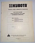 Kubota L2010 6and039 Dozer Owners / Parts Manual Used On L345 Tractors Blade L2012