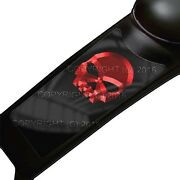 Gas Tank Dash Console Panel Decal For 87-07 Harley Touring - Red Metal Skull Blk