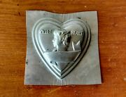 Antique 1920and039s Sweet Heart Shape Tin Cake Pan Mold Valentines Day Amelia Earhart