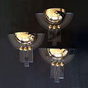 1 Of 3 Gorgeous Wall Fixtures Wall Lamps Sconces Brass Lucite Hollywood Regency