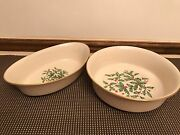 Lenox Holiday Special Holly / Berry 2 Pc Set Oval Round Serving Bowls