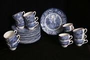 Staffordshire Lot Of 15 Liberty Blue Dinner Plates Independence Hall + Tea Cups