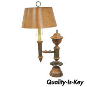 Vintage Distressed Wood And Brass French Country Rustic Table Desk Bouillotte Lamp