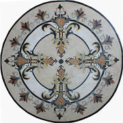 Round Medallion Floor Sword Majestic Gothic Table Top Marble Mosaic Md1404