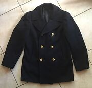 Vintage 1950s Usn Officers Peacoat With Brass Buttons Corduroy Pockets Size 38