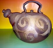 HUGE Handmade Art Studio TEA POT Stoneware Signed By Artist Bradford