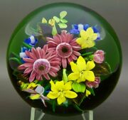 Rick Ayotte Colorful Various Flowers Glass Lt Ed 2003 Paperweightapr 2.5hx4w