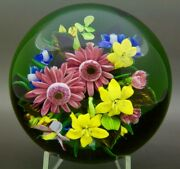 Rick Ayotte Colorful Various Flowers Glass Lt Ed 2003 Paperweight,apr 2.5hx4w