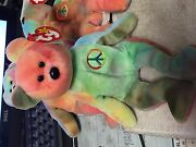 Rare Ty Beanie Baby-peace Bear- Original Collectible With Tag Errors. Nice