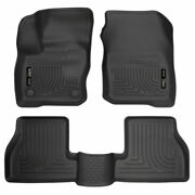 Husky Weatherbeater Front And 2nd Seat Floor Liners Black For Ford Focus 2016-2018