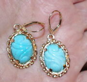 Antique 14k /14k Gf Carved Sleeping Beauty Turquoise Lever Back Earrings Cc