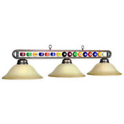 Billiards Pool Table Balls Bar Light With Amber Glass Shades -bronze