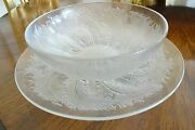 R. Lalique France Chicoree Matching Bowl And Underplate Centerpiece