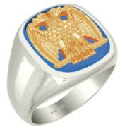 Customizable Solid Back Mens 0.925 Sterling Silver Gold Scottish Rite Ring