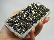Blue Gold Clear Frame Made With Crystals Case Cover Bling Iphone 5/5s