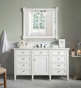 60 James Martin Brittany Cottage White Single Bathroom Vanity + Marble Top Sink