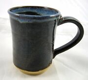 Handcrafted Studio Pottery Blue Etched Coffee Mug Cup Artisan Signed