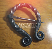 Hand-forged Irish Style Twisted Black Steel Brooch Or Cloak Pin -- Celtic/viking