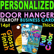 5000 Door Hangers Tear Off Business Card Glossy Full Color 2 Sided Custom Print
