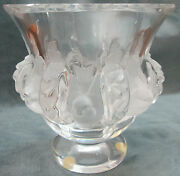 Lalique Crystal Dampierre With Frosted Birds And Alternating Vines Vase/bowl