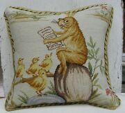 16 X 16 Handmade Wool Needlepoint Bunny Story Time Cushion Cover Pillow Case
