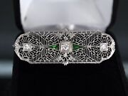 2500 Vintage 14k White Gold Synthetic Green Emerald Diamond Art Deco Pin Brooch