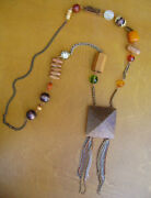 Vintage Long Necklace With Wooden Beads And Pearl Crystals Brass Chains