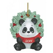 Precious Moments 'happy Holly-days' 2014 Dated Panda Christmas Ornament 141007