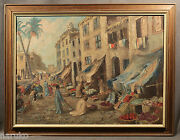 Antique Arab Market City Scene Oil Painting Quite Well Done
