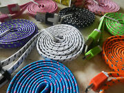 Wholesale Lot 1000 X Color Flat Braided Micro Usb B Sync Charging Cable Shoelace