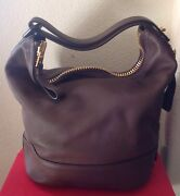 Tom Ford Womans 3890 Brown 100 Leather Hobo Bag Nwtag Gold Zipper