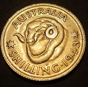 1943 S Australia 1/- One Shilling Error Showing Through Both Sides Pw43s-s