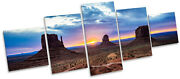 Monument Valley Sunset Canvas Wall Art Five Panel Print Picture