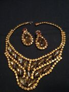 Antique Fabulous Solid Jeweled Bib Necklace Choker And Earring Set