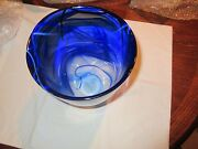Glass, Kosta Boda, Large Dark Blue With Light Blue Accents And Some White Vase