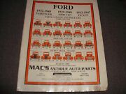 Ford, 1932-1948 Parts Catalog And Price List 1997 Mac's Antique Auto Parts